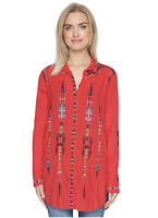 💕 Johnny Was BIYA Embroidered KATNIA Button Down Blouse JACKET Red $248 M 💕