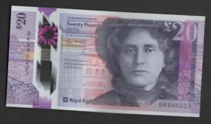 ROYAL BANK SCOTLAND POLYMER £20 UNCIRCULATED PREFIX BK 846223 FREEPOST UK