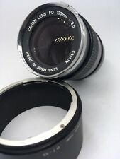 RARE Canon 135mm f/3.5 Chrome Nose FD Mount Lens w/ Lens Hood