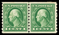 Scott 412 1912 1c Washington Perf 8½ Coil Issue Mint Line Pair F-VF HR Cat $130