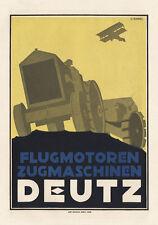 Deutz Flugmotoren Zugmaschinen L-Zabel Behrends Plakat Braunbeck Motor A2 329