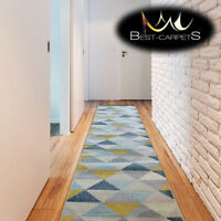 """Modern Thick Hall Runner """"NORDIC grey triangles Width 60-100cm extra long Stairs"""