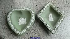 Wedgwood green dish, heart dish, diamond dish, trinket,pin dish.(B19)