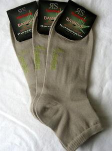3 Pair Women's Bamboo Trainers short Sock Socks Soft Rim Beige Sizes 35 To 42