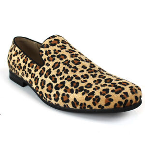 Mens Slip On Leopard Print Modern Dress Shoes Loafers Faux Animal Fabric ÃZARMAN