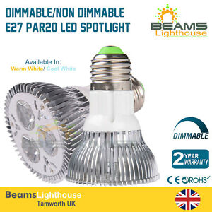 Dimmable E27 9W PAR20 LED Ceiling spotlight Warm White & Cool White Down Light
