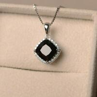Natural Black Tourmaline Pendant Sterling Silver Handmade Halo Setting Necklace