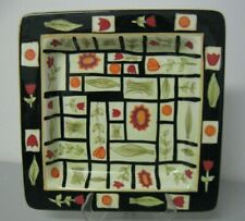 Hausenware Inc Floral Green Red Black and Orange Designed Square Serving Tray