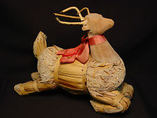Vtg Corn Husk Reindeer Deer Xmas Holiday Ornament Decoration Handmade Rudolph