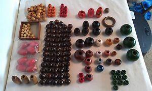 Macrame Holz Perlen Sortiment/Einige Neu & Gebraucht