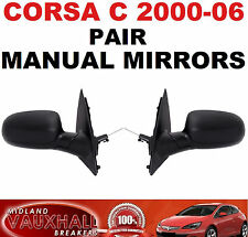 VAUXHALL CORSA C PAIR BLACK MANUAL DOOR WING MIRRORS PASSENGER & DRIVERS SIDE