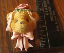True Vintage 80s Creepy Country 3d Bear Pink ribbon Button Pinback