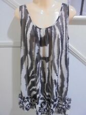 TEMT SIZE 14 Cream Grey Frill Feature Lined 100% CHIFFON DRESS