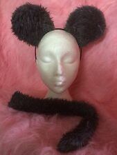 Dark Grey Mouse Rat Ears And Tail Set Instant Fancy Dress One Size Fits All NEW