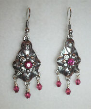 6cm Silver tone drop earrings with pink stones