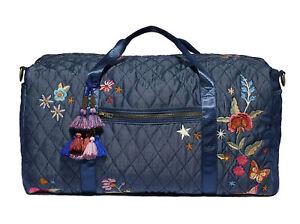 Johnny Was Quilted Denim OVERNIGHT Weekender Handbag DUFFLE Jean Flower Bag New