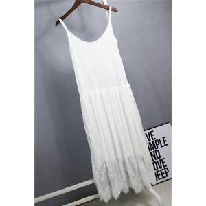 Women Lace Mesh Sleeveless Strappy Cami Petticoat Full Slip Long Vest Tank Dress