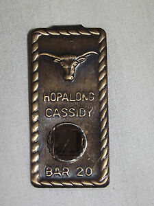 VINTAGE TOY WESTERN COWBOY HOPALONG CASSIDY BAR 20 BULL  HEAD METAL MONEY CLIP