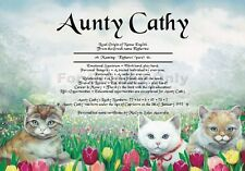 Name Meaning Certificate Children or Adult Birthday, gifts  - Garden Cats