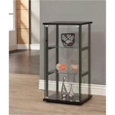 3-Shelf Glass Black Display Curio CabinetStorage Organizer Push-To-Open Door
