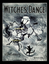 WITCHES DANCE 8x10 witch black cat bat Vintage sheet music cover Art print