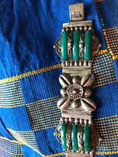 Vintage Mexican, Possibly Taxco, Sterling Silver And Greenstone Bracelet
