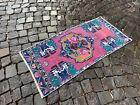 Carpet, Doormat, Vintage handmade small rug, %100 wool rug | 1,8 x 3,7 ft