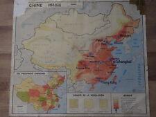 Carte Affiche Scolaire L'URSS et la Chine la Population  M.D.I