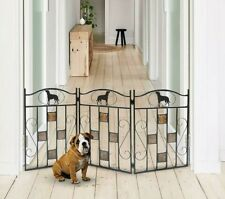 Safety Pet Gate for Dog Free-Standing Folding Decorative Metal Fence Barrier New