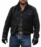 Cole Hauser Rip Wheeler Yellowstone Stylish Cowboy Black Cotton Jacket For Men