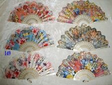 6 Pcs White Rim Lace Floral Asian Chinese Japan Dance Hand held Folding Fan New!