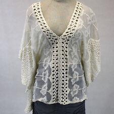 NEW NWT XCVI Lagenlook Sheer Mesh & Lace Ivory V-Neck Poncho Style Blouse Large