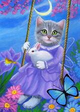 Kitten cat rabbit butterfly moon swing garden fantasy OE aceo print of painting