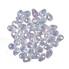 PF Fashion 72pcs Faceted Glass Crystal Charm Teardrop Style Spacer Beads 8x6mm C