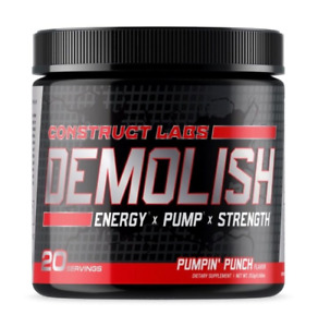 DEMOLISH Pre Workout - Pumpin' Punch. BEST PUMP, ENERGY, and FOCUS!