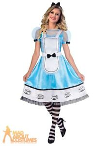 Ladies Alice in Wonderland Costume Womens Book Day Fancy Dress Adults Outfit