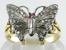 CLASS 9K 9CT YELLOW GOLD  28 DIAMOND & RUBY EYES BUTTERFLY ART DECO INS  RING