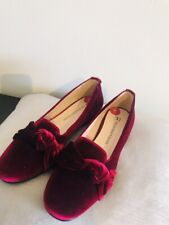 Trussardi Jeans Velvet Red Woman's Shoes. Size3uk/ Euro36 / Vintage Design / New