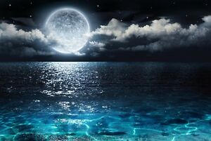 Moon At Night Clouds Sea Dark Landscape Wall Art Poster Print / Canvas Pictures