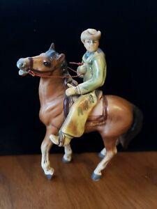 Vintage Thrifco Japan Cowboy Horse & Rider Ceramic Figure Western Old West