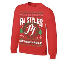 Aj Styles WWE  Ugly Holiday Christmas Sweatshirt Large Red New 2XL XXL