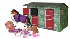 Wooden Model Toy Stables with Model Horse, tack and Accessories