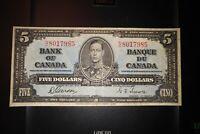 1937 $5 Dollar Bank of Canada Banknote NC8017985