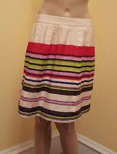 Ann Taylor LOFT 8P Petites Skirt Multi-Color Striped Spring 2017 Pleated Womens