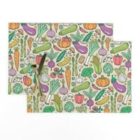 Cloth Placemats Vegetables Fall Autumn Thanksgiving Food Harvest Farm Set of 2