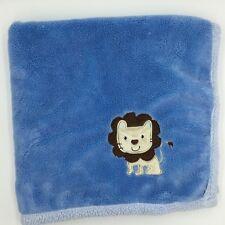 Baby Gear Blue Tan Brown Lion Blanket Sherpa Plush