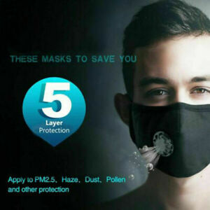 Adult Face Mask+Filters+Valve PM2.5 Protective Mouth Covering Washable Reusable