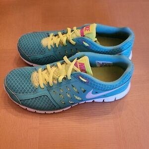 Nike Womens Flex Run 2013 580440-300 Teal Running Shoes Lace Up Low Top Size 9