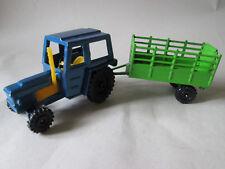 Playart 1:64 Blue Zetor Tractor & Green Farm Cart Trailer w/Drop Down Tailgate