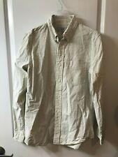 Jack Spade Men's Small Warren St Long Sleeve Cotton Dress Shirt Cream Striped